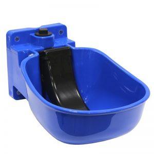 Abbeveratoio in plastica blu con paletta nera
